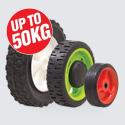 Rubber Tyred Nylon Centred Wheels